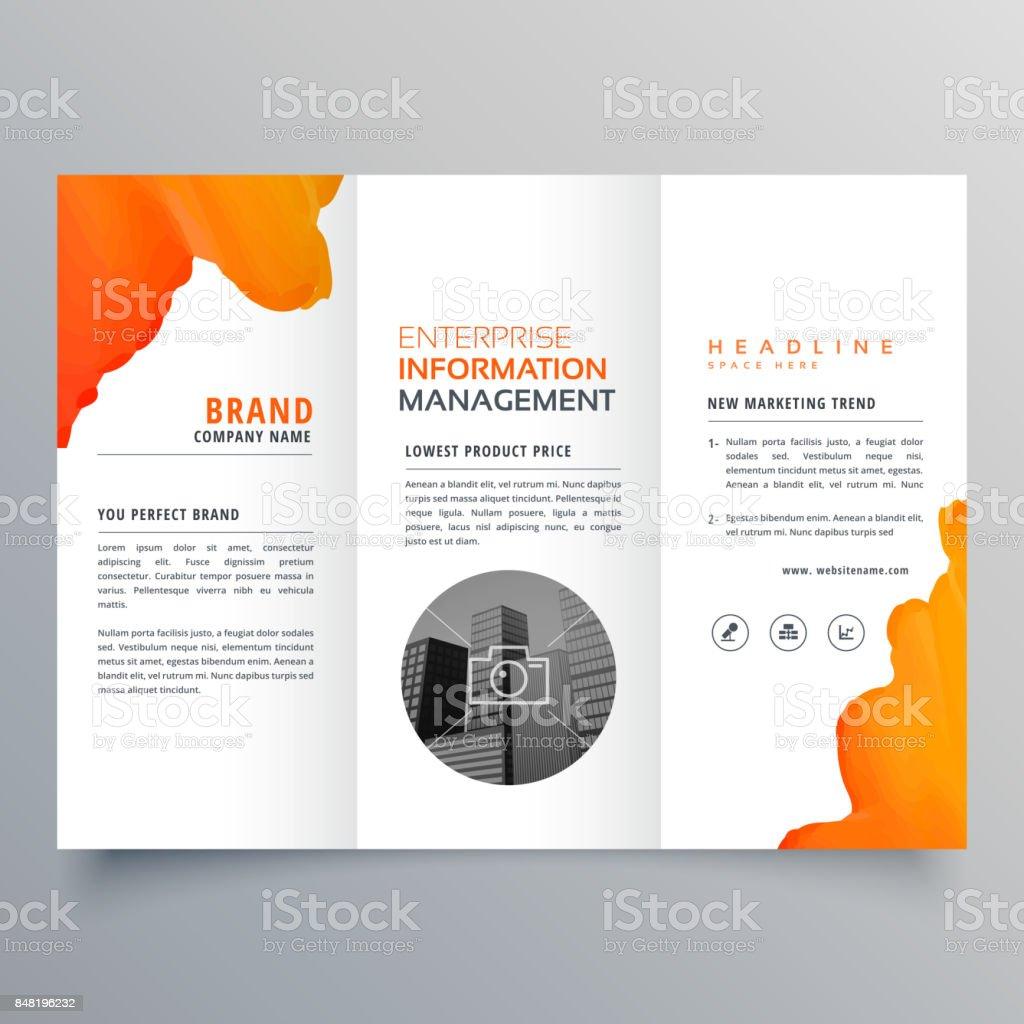 orange watercolor trifold business leaflet brochure flyer template design vector art illustration