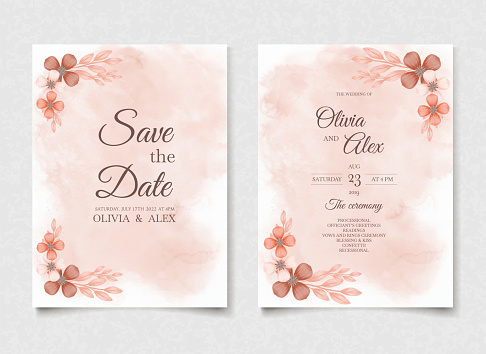Orange watercolor wedding invitation flowers card