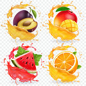 Orange, watermelon, plum and mango juice splashes Fresh fruits vector icon set.