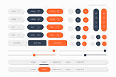 orange web elements with navigation, buttons, icons for use on the site
