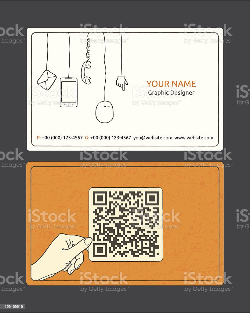Orange White And Black Business Card Templates Stock Vector Art Computer Mouse Diagram Schematic Image Royalty Free