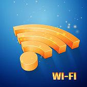 orange Wi-Fi symbol on blue background
