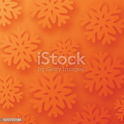 Orange winter card with snowflakes for seasonal, Christmas and New Year decoration. Vector background.