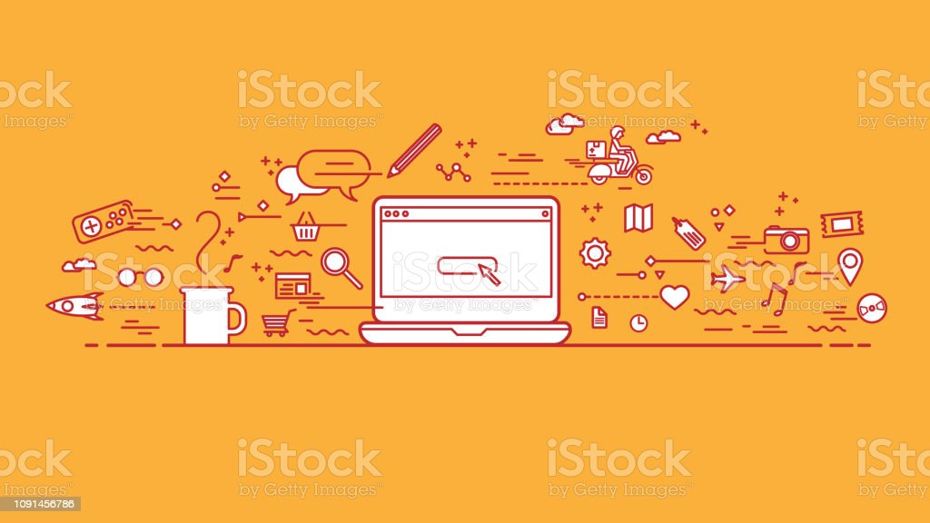 Orange workspace with lineart icons vector art illustration