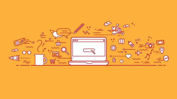 Espace de travail orange avec lineart icônes - Illustration vectorielle