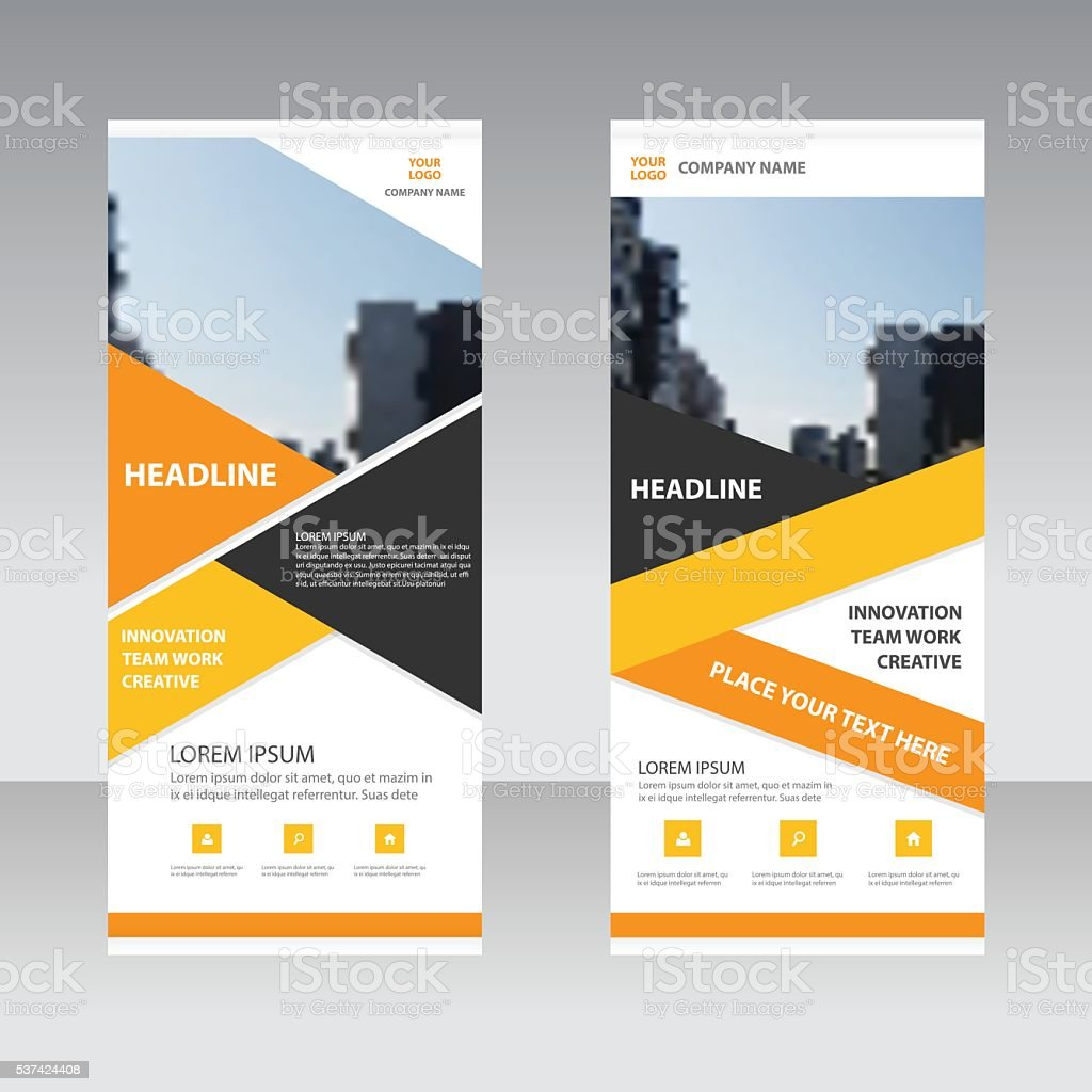 Orange yellow Business Roll Up Banner flat design template vector art illustration