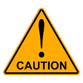 Orange yellow triangle with exclamation mark word caution, vector Hazard warning attention sign