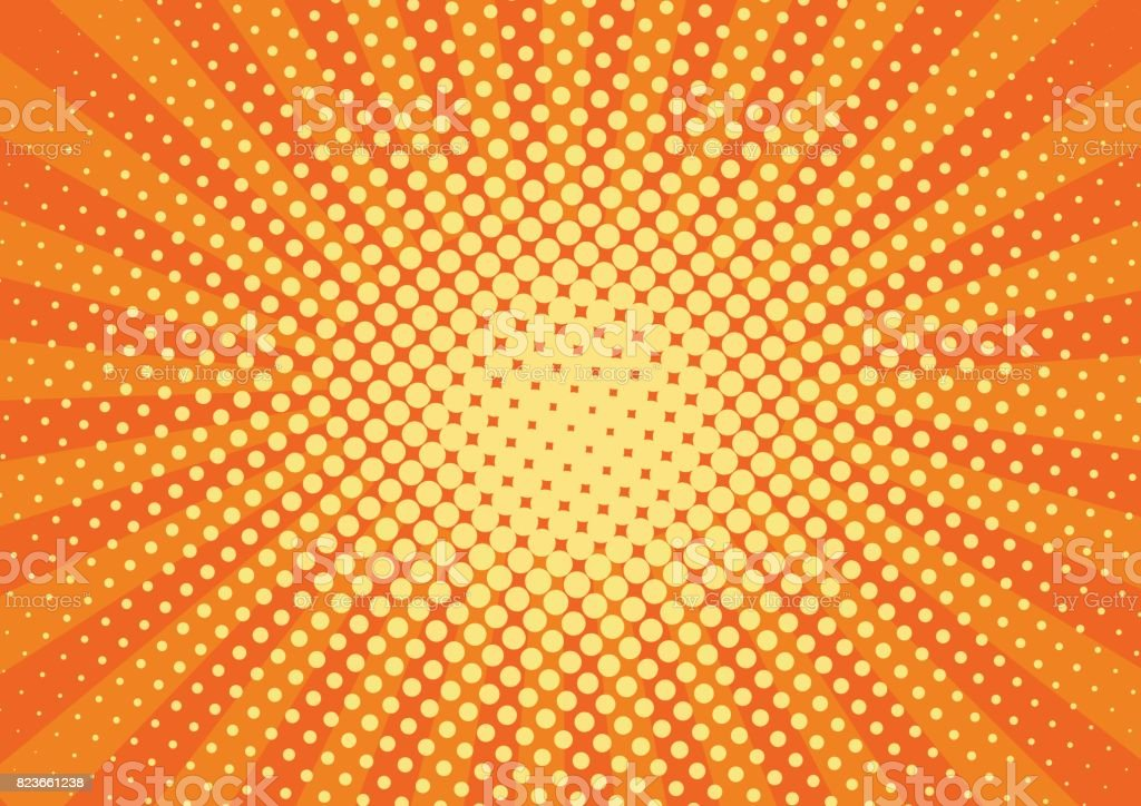 Orange, yelow rays and dots pop art background. retro vector illustration drawing for design royalty-free orange yelow rays and dots pop art background retro vector illustration drawing for design stock illustration - download image now