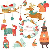 Christmas set with forest animals in cartoon style. Cute owl, birds, sleeping reindeer, bear, hare, fox, squirrel and flowers.