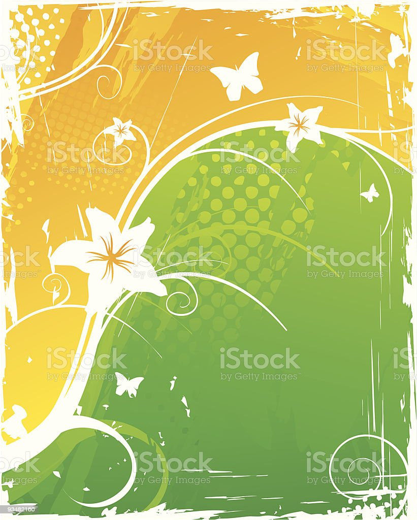 Orange/green abstract floral background royalty-free stock vector art