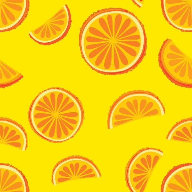 Oranges. Citrus fruits seamless pattern vector art illustration