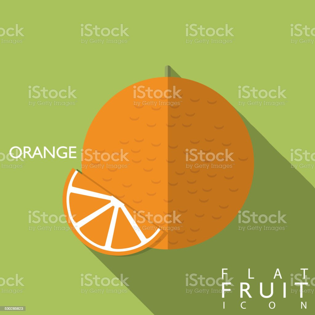 Oranges flat icon illustration with long shadow vector art illustration
