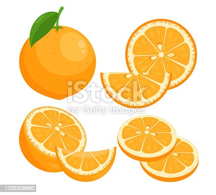 Oranges flat vector illustrations set. Juicy ripe citrus whole in peel with leaf isolated pack on white background. Summer natural fresh fruit slices with seeds design elements collection