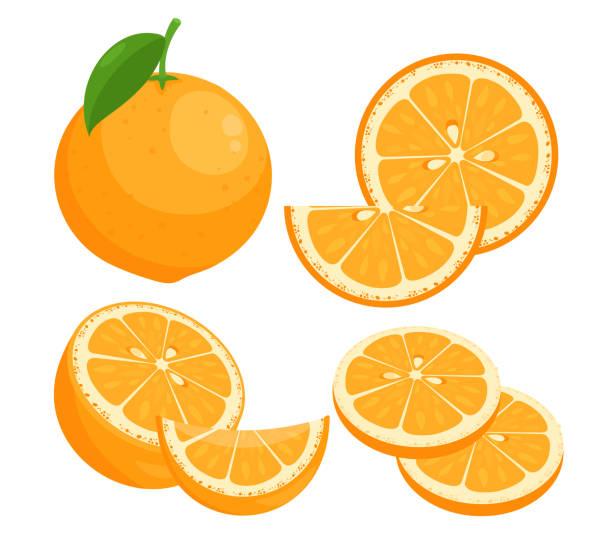 bildbanksillustrationer, clip art samt tecknat material och ikoner med oranges platt vektor illustrationer uppsättning. saftig mogen citrus hela i skal med blad isolerade pack på vit bakgrund. sommar naturliga färska fruktskivor med frön designelement samling. - apelsin