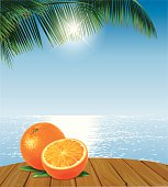 Oranges on a wooden table in front of an ocean and palmleaves.