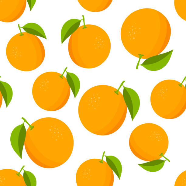 oranges pattern. colorful texture with oranges on white background. vector illustration - orange color stock illustrations