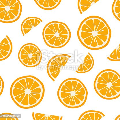 Oranges seamless pattern with. Citrus background Vector illustration.