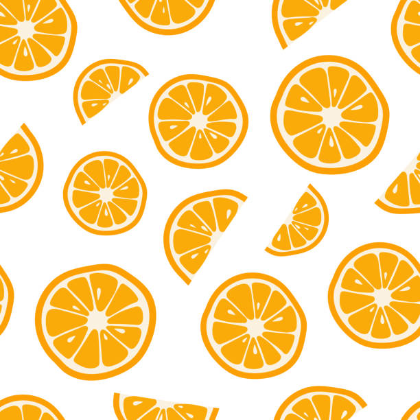 oranges seamless pattern with. citrus background. vector illustration - orange color stock illustrations