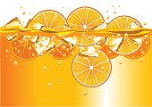 Orange slices and ice cubes splashing into orange drink, with bubbles and splashes. Each element is on a separate layer and can be easily moved or edited. Download also includes a high-res jpeg.
