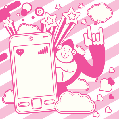 Orangutan gesturing love hand sign with cell phone design element