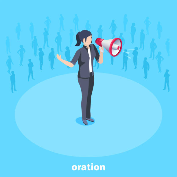 oration isometric vector image on a blue background, a woman in a business suit stot with a loudspeaker, speaker at a speech in front of listeners spokesperson stock illustrations
