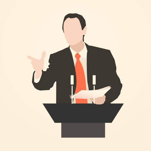 ilustrações, clipart, desenhos animados e ícones de orator falar da tribune - político