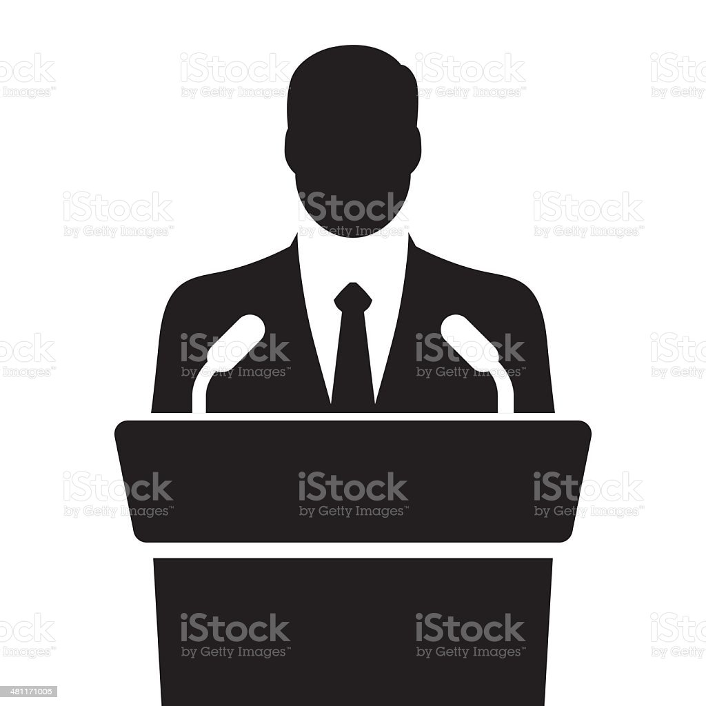 orator speaking from tribune vector illustration vector art illustration