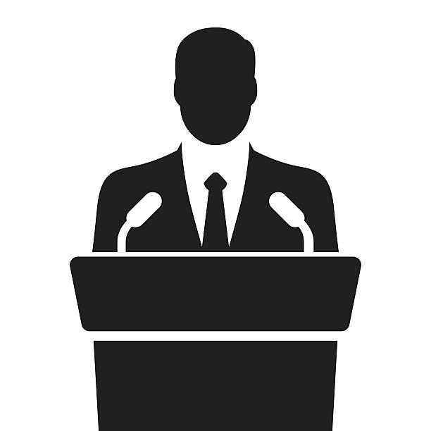 orator speaking from tribune vector illustration speaker icon. orator speaking from tribune. vector flat design colorful illustration president stock illustrations
