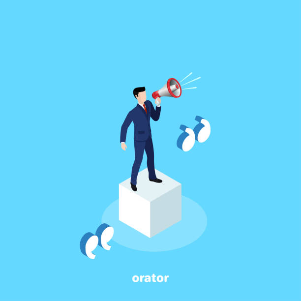 orator a man in a business suit is standing on a white cube with a loudspeaker, an orator's speech, an isometric image spokesperson stock illustrations
