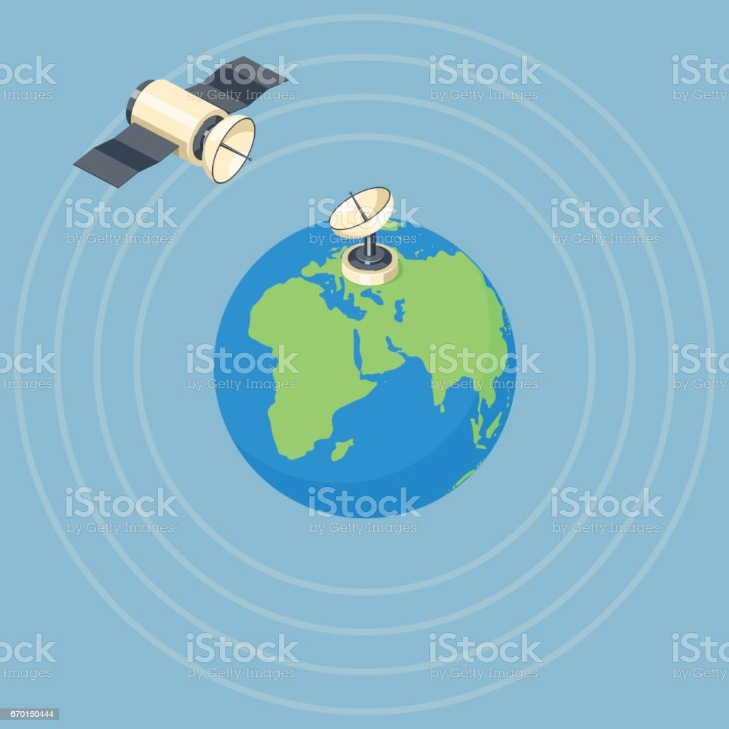 Orbit and dish satellite on earth planet.