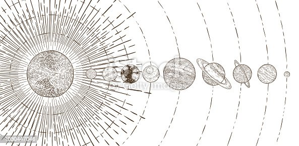 Orbital planets system. Astronomy solar systems, solars planet orbit planetary satellite, Mercury Venus Mars Jupiter Saturn Uranus earth orbiting sun and vintage space astrology vector illustration