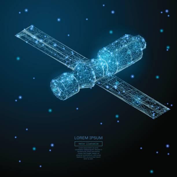 ilustrações de stock, clip art, desenhos animados e ícones de orbital space station low poly blue - wireframe solar power