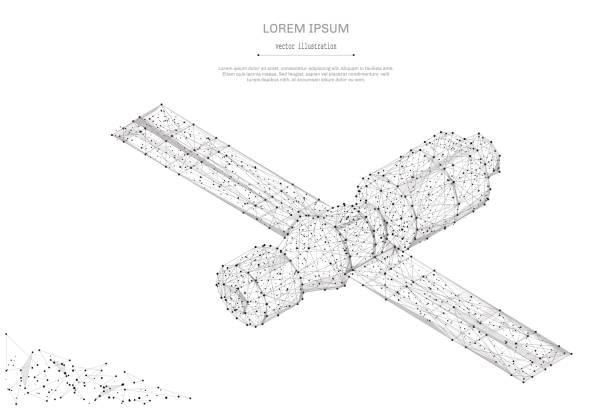 ilustrações de stock, clip art, desenhos animados e ícones de orbital space station low poly gray - wireframe solar power