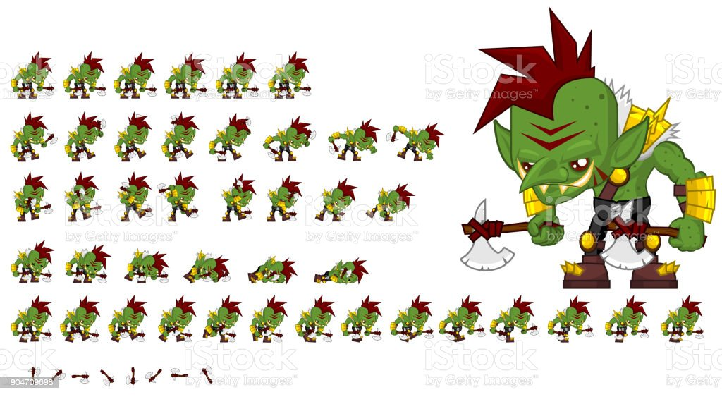Orc Game Sprites vector art illustration
