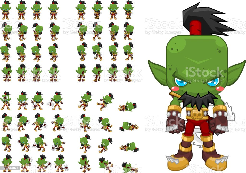 Orc Warrior Sprites Stock Vector Art More Images Of Activity