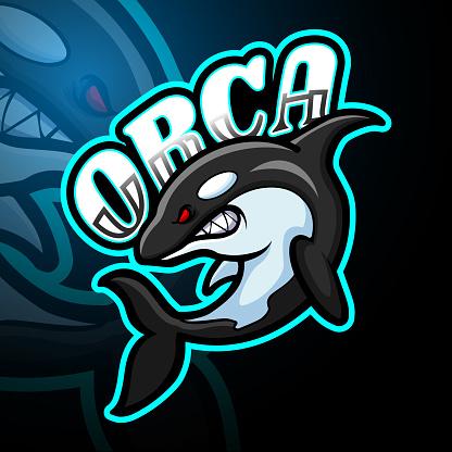 Orca esport logo mascot design