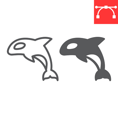 Orca line and glyph icon, sea and ocean animals, orca vector icon, vector graphics, editable stroke outline sign, eps 10.