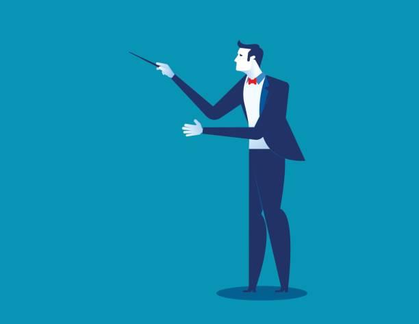 dirigent des orchesters. konzept-dirigent-vektor-illustration. - bandleader stock-grafiken, -clipart, -cartoons und -symbole