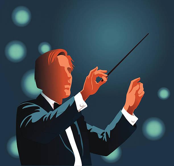 orchester dirigent durchführung clasical musik - bandleader stock-grafiken, -clipart, -cartoons und -symbole
