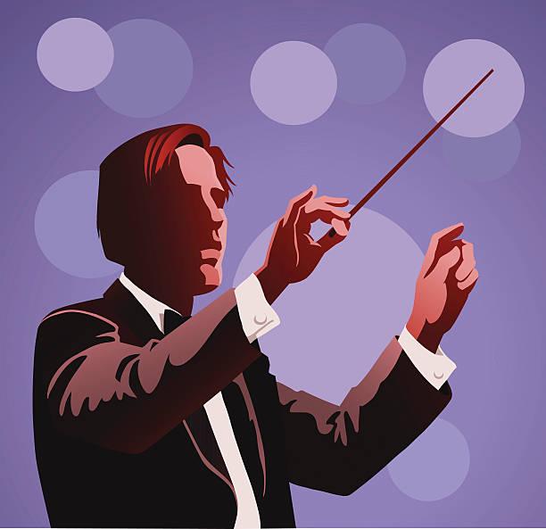 orchester dirigent durchführung - bandleader stock-grafiken, -clipart, -cartoons und -symbole