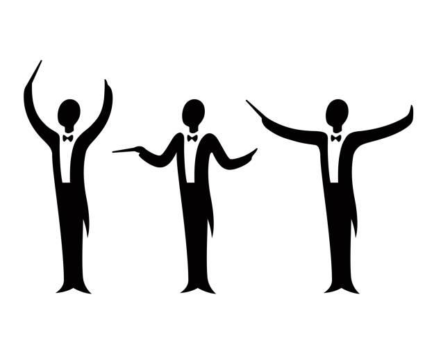 orchester-dirigent-konstruktor-set - bandleader stock-grafiken, -clipart, -cartoons und -symbole