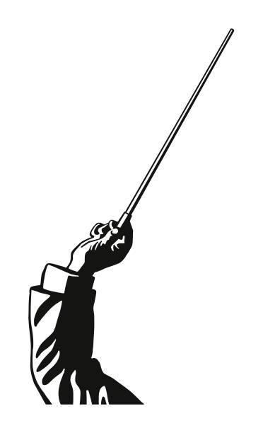 orchester dirigent mit baton - bandleader stock-grafiken, -clipart, -cartoons und -symbole