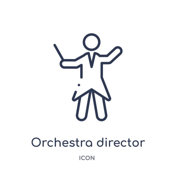 bildbanksillustrationer, clip art samt tecknat material och ikoner med orkester regissör ikon från musik disposition samling. tunn linje orkester regissör ikon isolerad på vit bakgrund. - orkester