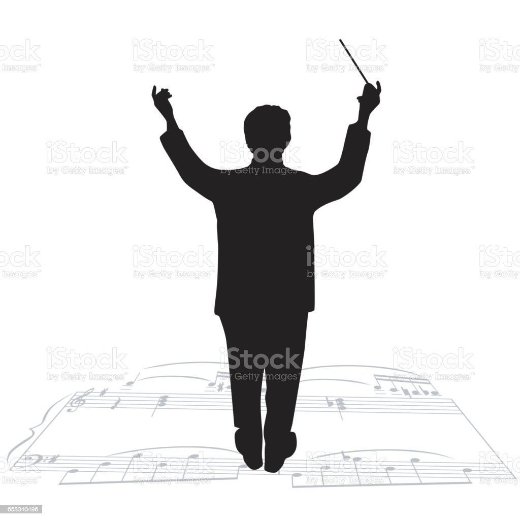 Orchestra Director vector art illustration