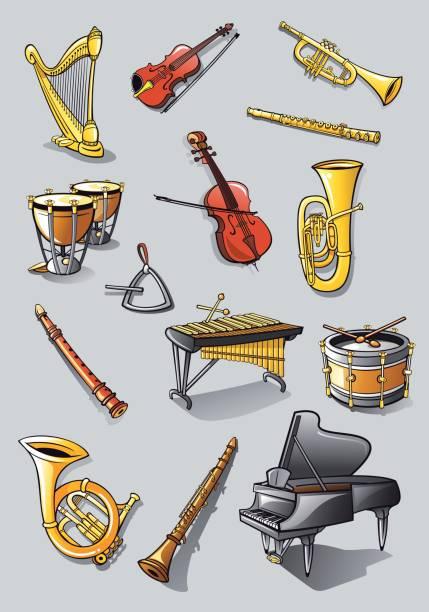 orchestra instruments - klarnet stock illustrations