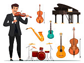 Orchestra items flat vector illustrations set. Violin musician and band stuff. Grand piano, guitar, drum, saxophone. String, keyboard, percussion musical instruments. Conservatory attributes