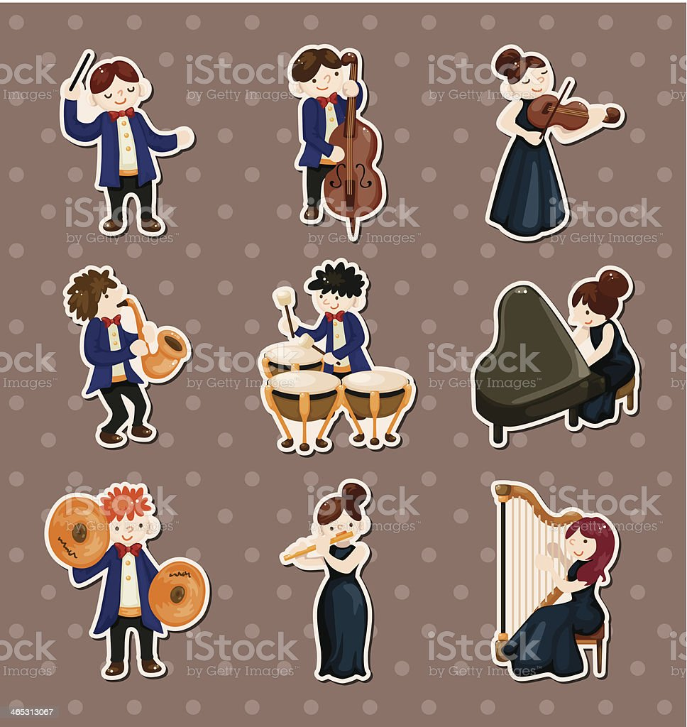 orchestra music player stickers vector art illustration