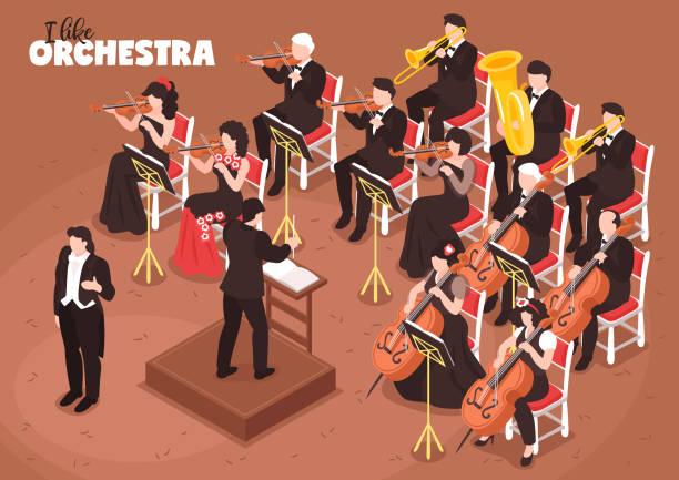 bildbanksillustrationer, clip art samt tecknat material och ikoner med orkester musiker iso metrisk komposition - orkester