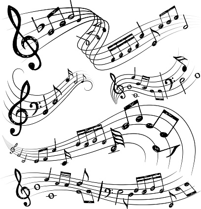 Orchestra notes. Sign or sound symbols musician guitar conservatory notes vector collection