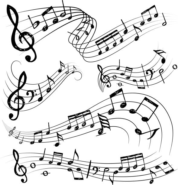 Orchestra notes. Sign or sound symbols musician guitar conservatory notes vector collection Orchestra notes. Sign or sound symbols musician guitar conservatory notes vector collection. Notes of melody musical, sound sketchy composition illustration music stock illustrations